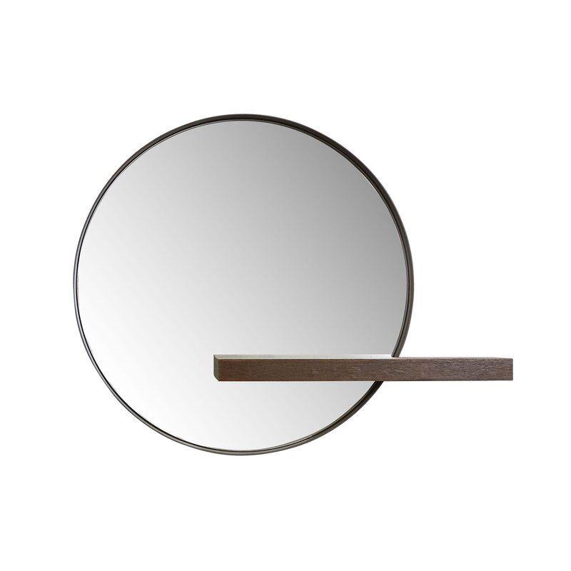 Seibert Round With Shelves Accent Mirror Allmodern Round Mirror Bathroom Small Round Mirrors Circular Mirror