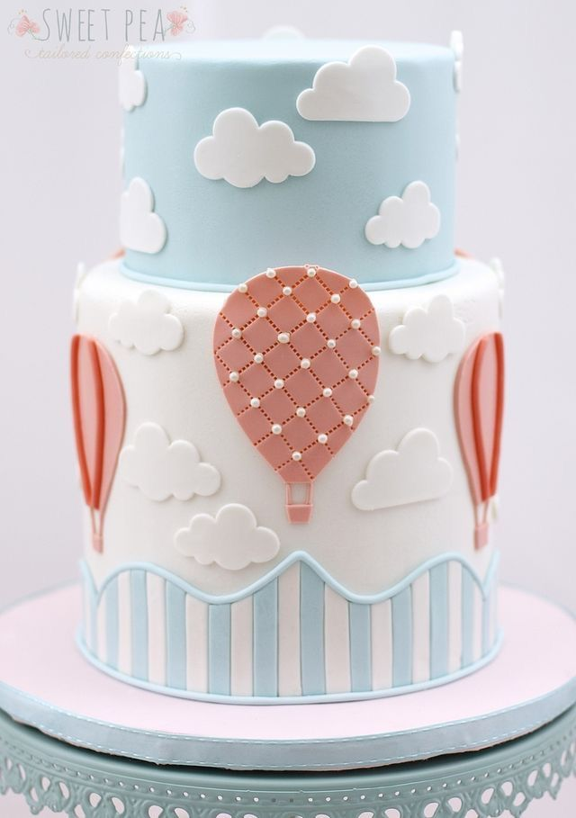 Delightful Hot Air Balloon Baby Shower Cake Part - 4: Un Joli Gâteau En Pâte à Sucre Bleu Et Blanc Pastel | Skittlesprinkles | |  Sky Theme In 2018 | Pinterest | Cake, Babies And Birthdays