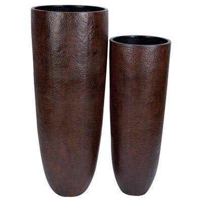 DecMode Bronze Embossed Metal Floor Vase - Set of 2 - 53188