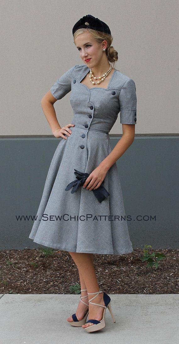 Womens Teens Muster Winterurlaub Mantel Kleid Nähen Nähen schicke ...