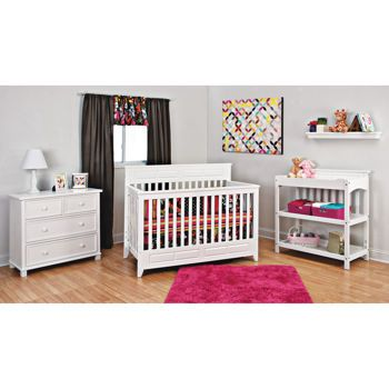 Manchester 3-piece White Convertible Crib Set | Home - Nursery ...