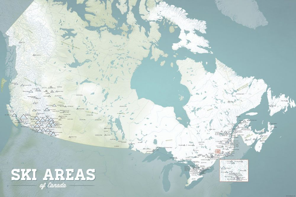 Ski Resorts In Canada Map Canada Ski Resorts Map 24x36 Poster | Canada ski resorts, Ski