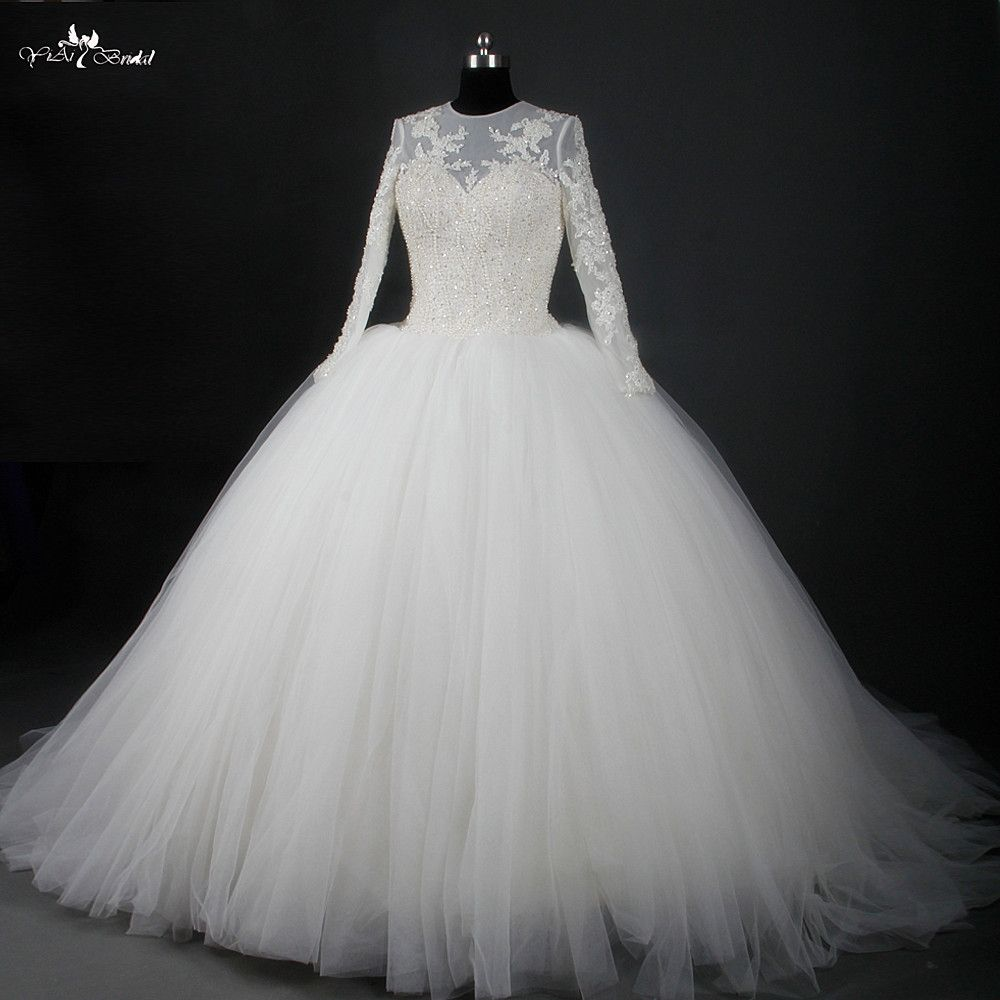 Rsw champagne round neck long sleeve wedding dress ball gowns