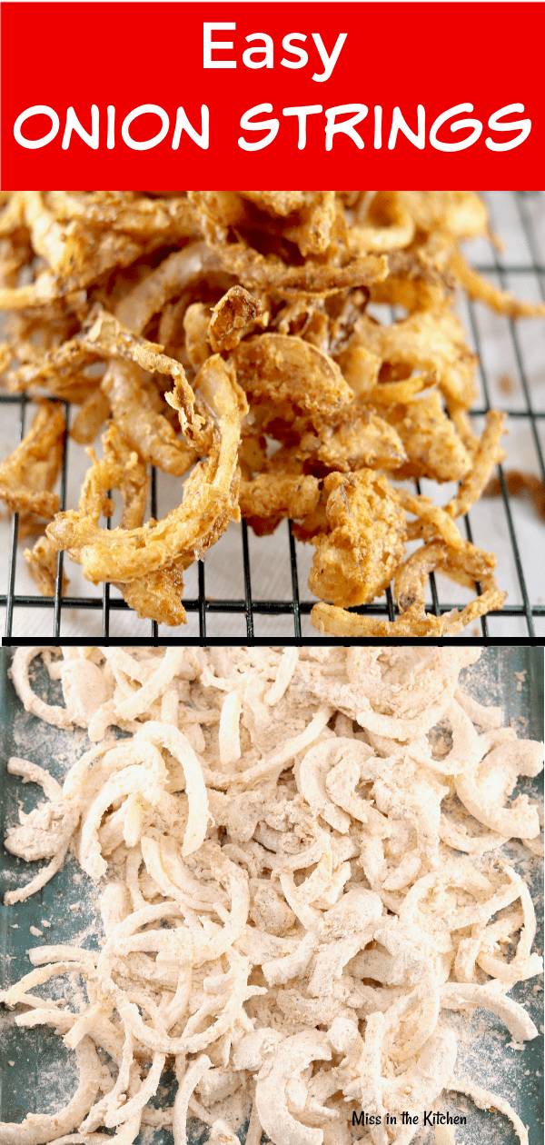 Easy Onion Strings are a crispy and delicious addition to burgers and sandwiches or serve them up as an irresistible side dish or appetizer!
