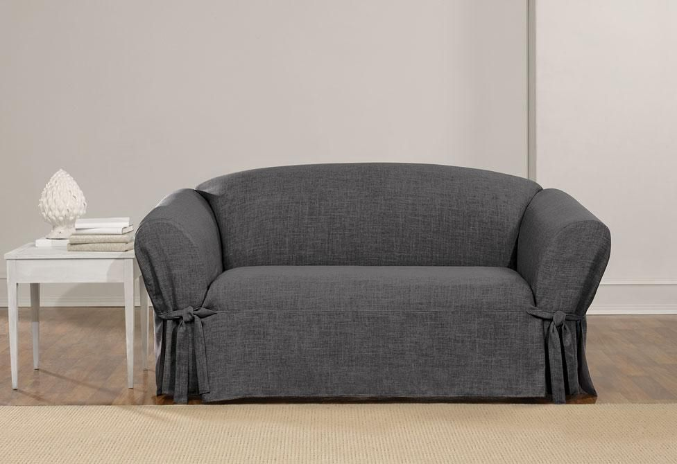 Textured Linen One Piece Loveseat Slipcover Relaxed Fit Box Cushion Machine Washable Slipcovers Loveseat Slipcovers Love Seat