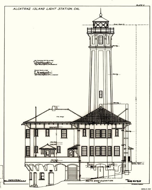 Alcatraz Island Prison Lighthouse Blueprints Drawaing Art Real