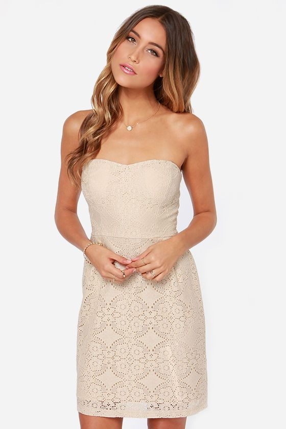 Love You So Strapless Light Beige Lace Dress | Lace, Products and ...