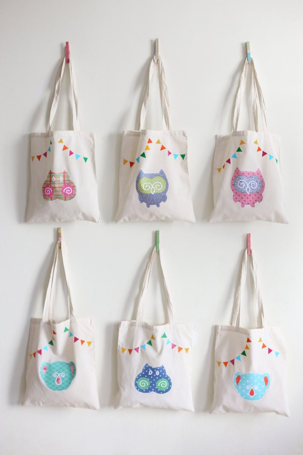 Blue Owl Tote Bag Handmade Fabric cute owl - 2014 Custom Tote Bags ...