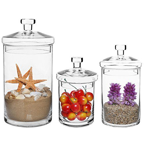 Set Of 3 Clear Glass Kitchen & Bath Storage Canisters  Decorative Awesome Glass Kitchen Containers Decorating Design