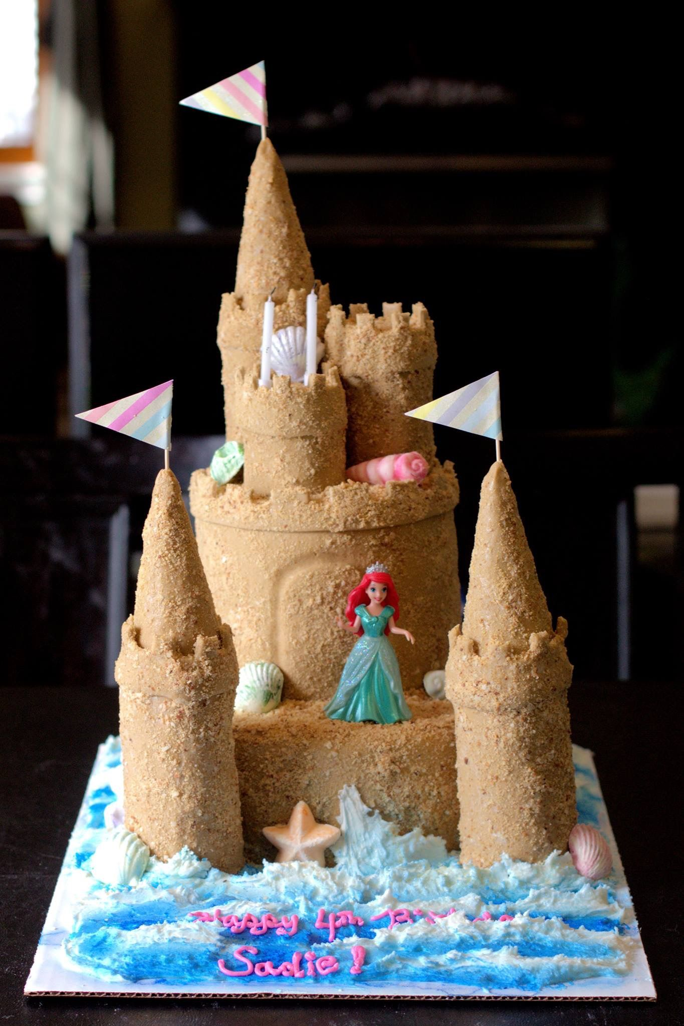 Little Mermaid Sand Castle Cake With Images Castle Birthday