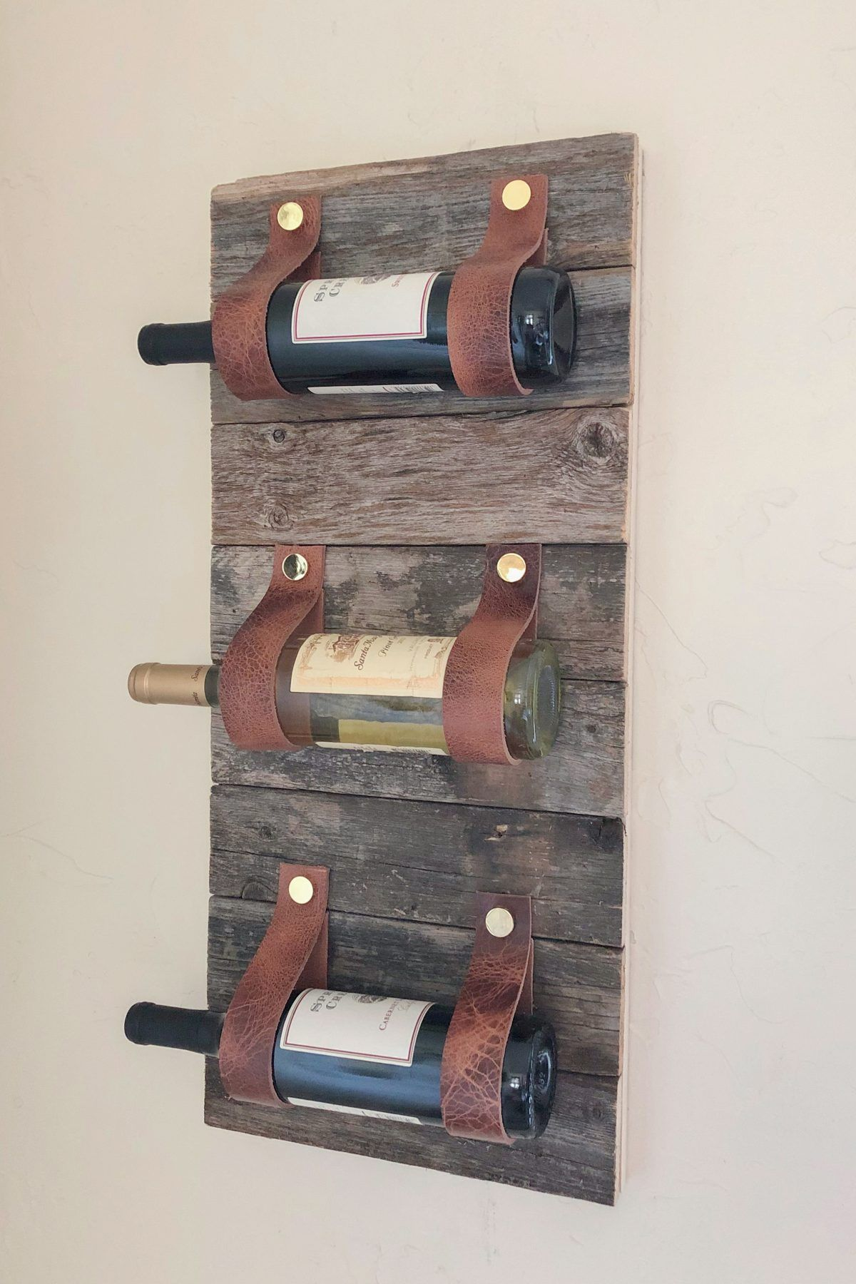 Diy Wood And Leather Wine Rack With Images Woodworking