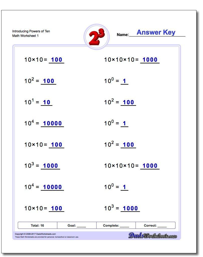 Introducing Powers of Ten Exponents Worksheet! Introducing Powers of ...