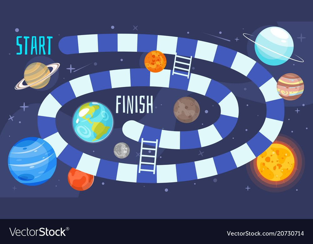 Kids space board game template vector image on VectorStock