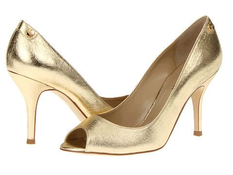Metallic Gold Peeptoe Pumps | J. Renee