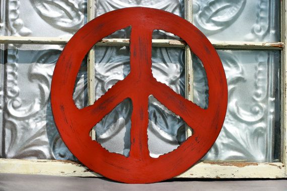 Big Peace Sign/ Large 15  Peace Sign/ Metal Red Peace Sign/ Wall Decor/ Shabby Chic Peace Sign/ Rustic Peace Symbol