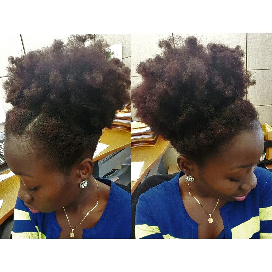 Natural Hair Style  High Puff   Flat Twist  f6f30734909