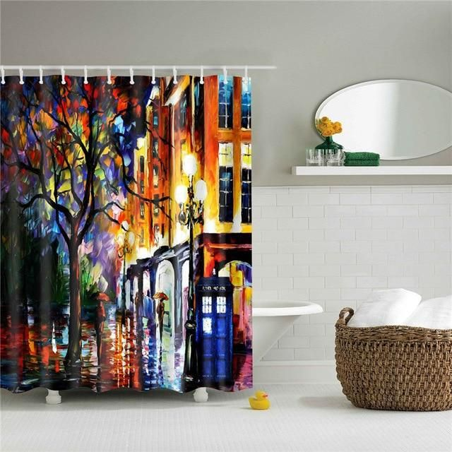 Painted London Nights Fabric Shower Curtain