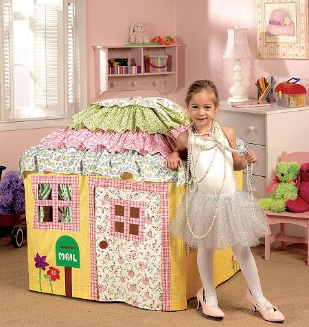 I can't even stand how cute this is!  I need to brush up on my sewing skills.  This house gets draped over a card table!!