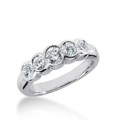 Wedding Anniversary Rings WB4243 074 ct Bezel Set FiveStone