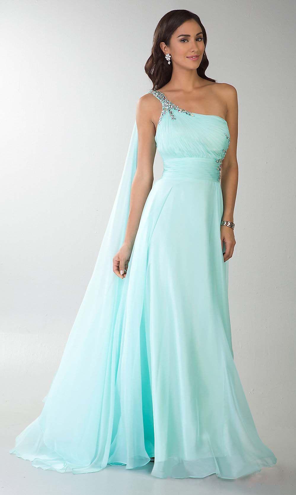 unique tiffany blue one shoulder long chiffon prom dress   Tiffany ...