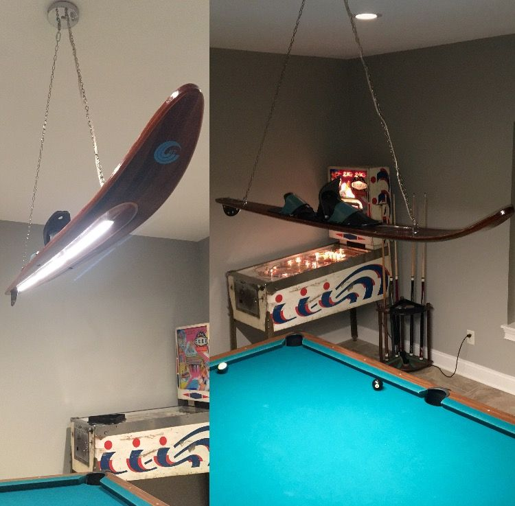 Attractive Vintage Water Ski Pool Table Light (homemade!)