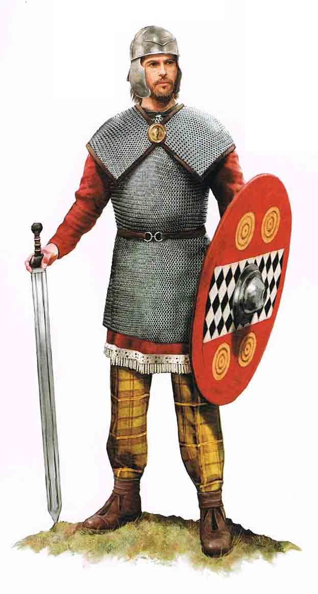 Celtic nobleman, note the chainmail armor with doubled shoulder cape, a typically Celtic style. Note also the shield blazon with checkerboard and wagon wheel motifs.