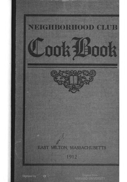 """Neighborhood Club Cook Book"" (1912)"