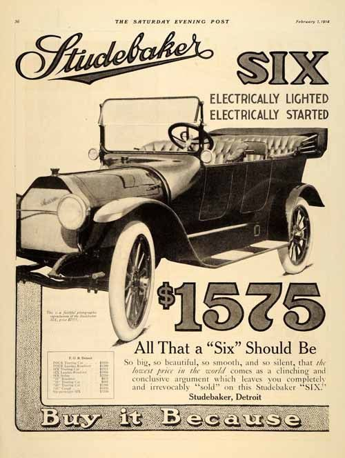 This Is An Original 1914 Black And White Two Page Print Ad For The Studebaker Model Six Four Automobile Condition 97 Year Old Item Rated