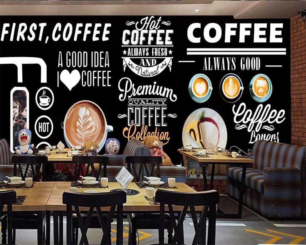 Beibehang Custom Wallpaper Hand Painted Blackboard Coffee Shop Western Restaurant Background Wall Decoration Mural 3d Wallpaper Wallpapers Aliexpress In 2020 Custom Wallpaper Coffee Shop Decor Custom Photo Wallpaper