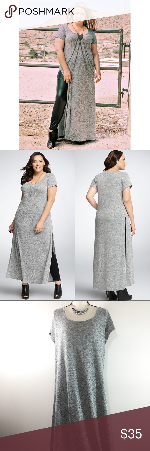 🏳 NWOT TORRID Side Slit Gray Maxi Tunic Dress | Gray maxi, Torrid ...