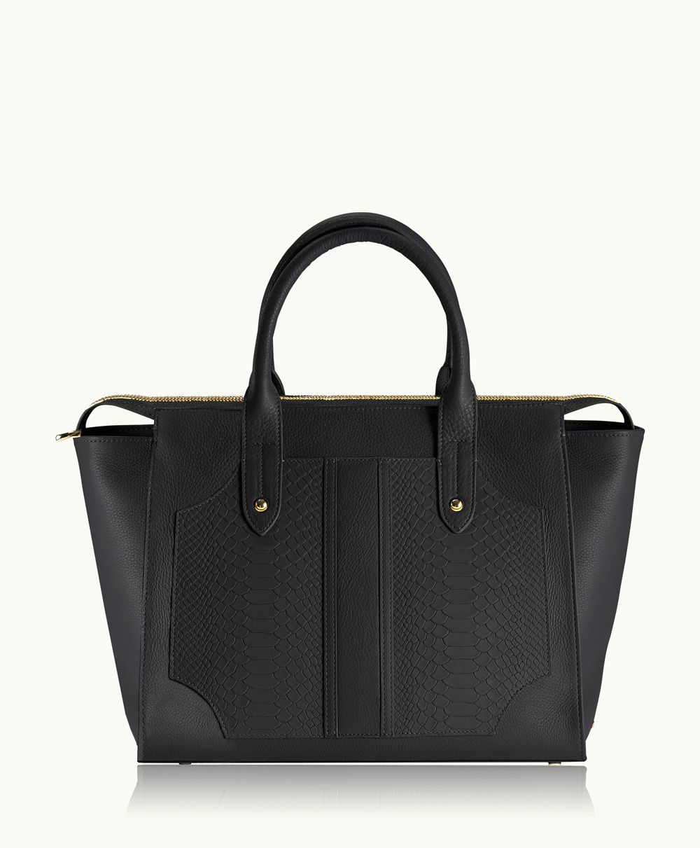 - Gold Initial Monogram Black Gates Satchel | Natural Grain and Embossed Python Leather | GiGi New York