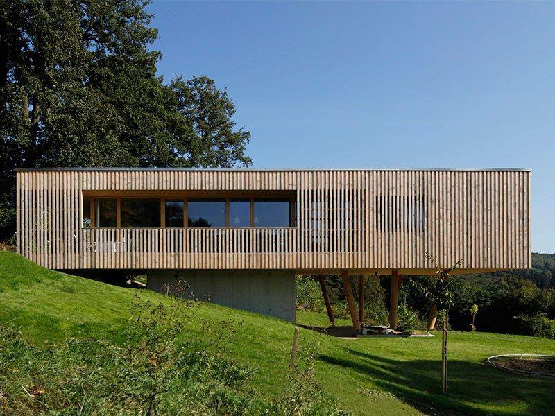 Arquitectura sostenible Casas prefabricadas de madera CENTRO - fachada madera