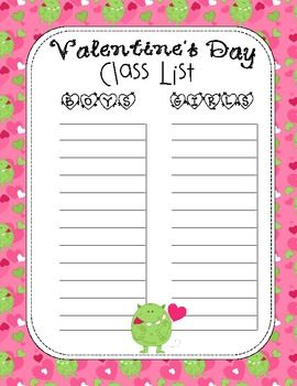 Valentine S Day Class Name List Seasonal Holiday In The Classroom
