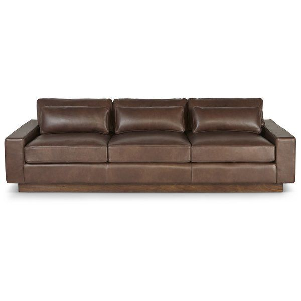 The Corrine Leather Sofa offers modern lines, deep seat with ...