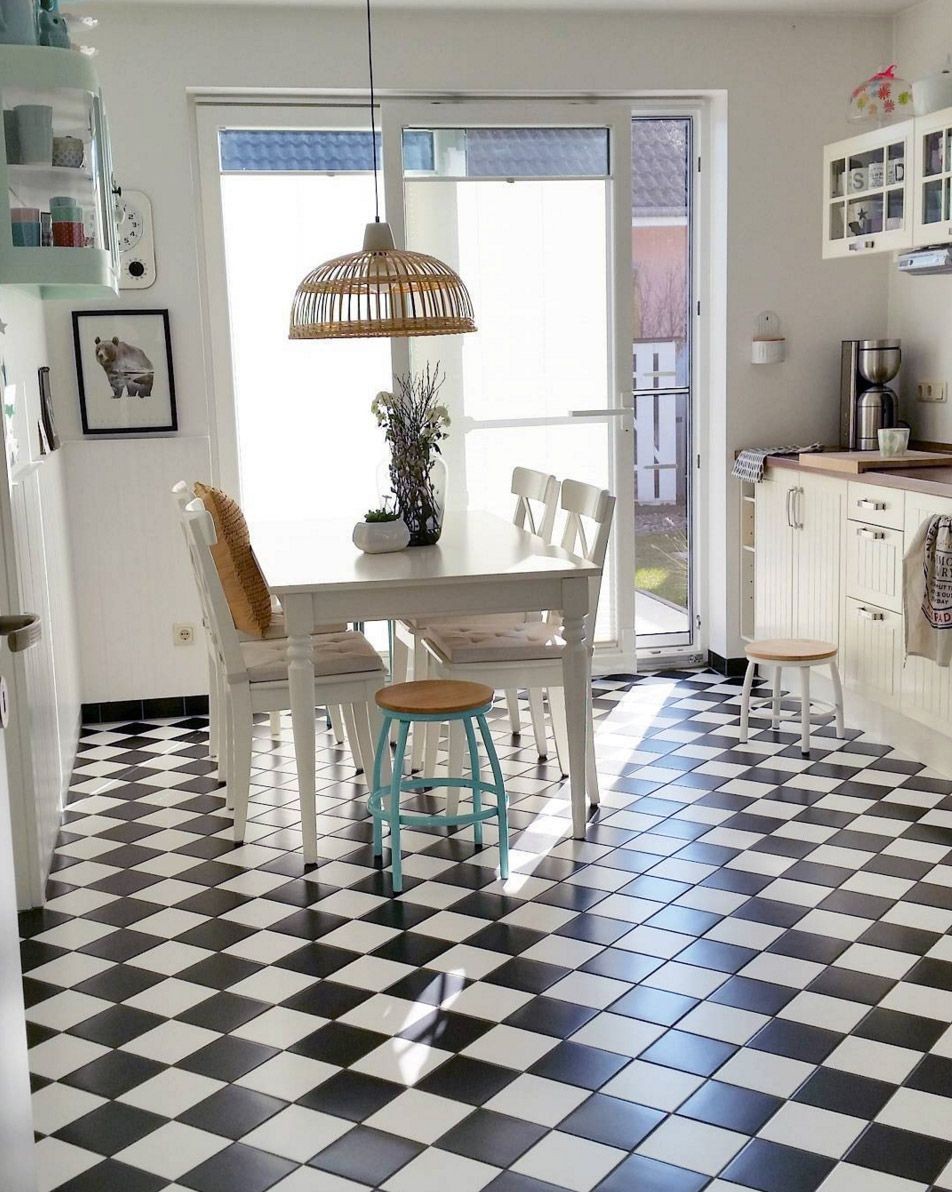 Neu kueche-schwarz-weisser-boden | küche | Pinterest | Küche schwarz  JJ19