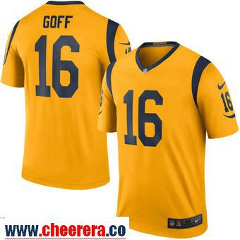 Men s Los Angeles Rams 16 Jared Goff Nike Gold Color Rush Legend Jersey 4873a2357