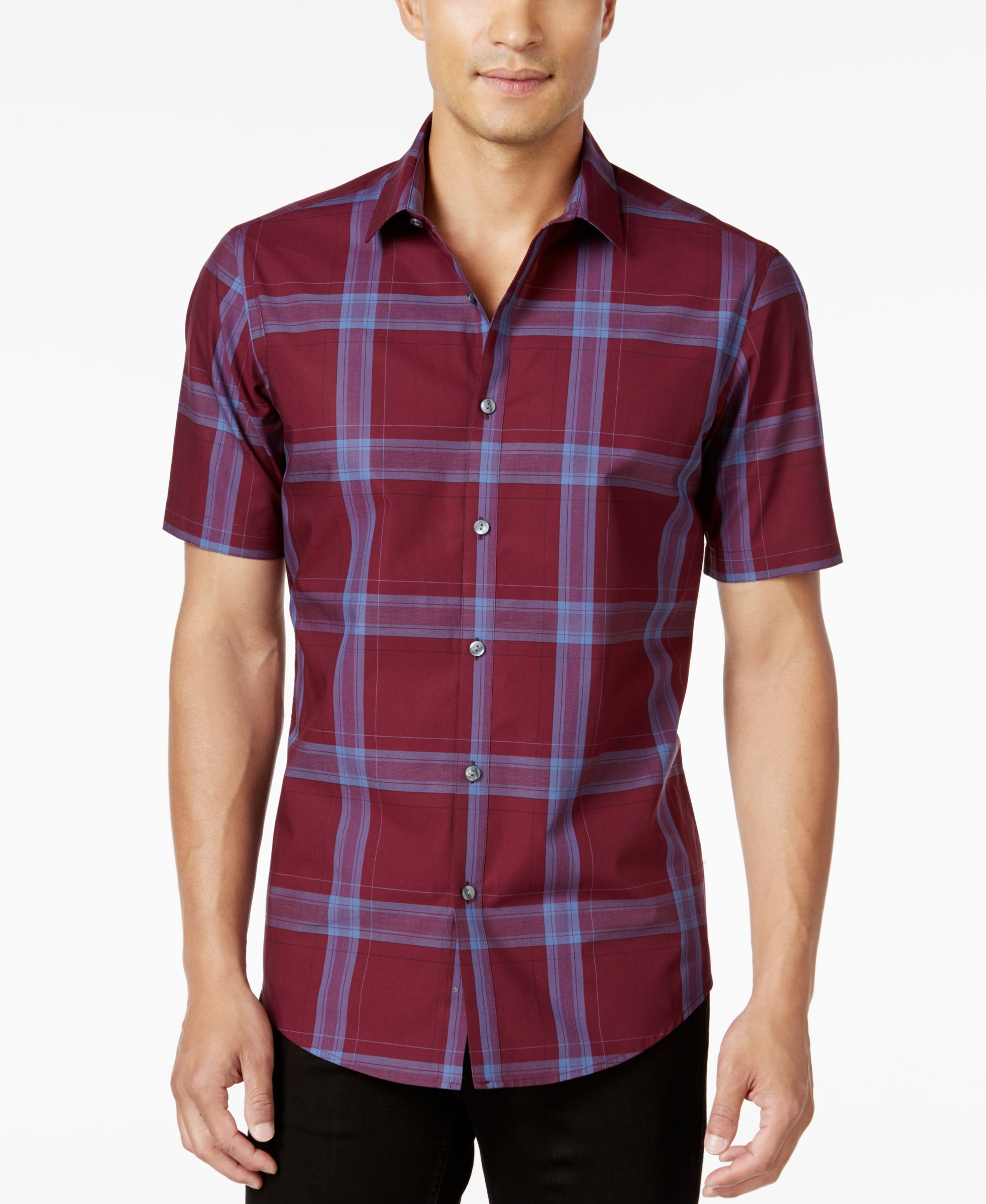 Alfani Menus Slim Fit ShortSleeve Plaid Shirt Only at Macyus