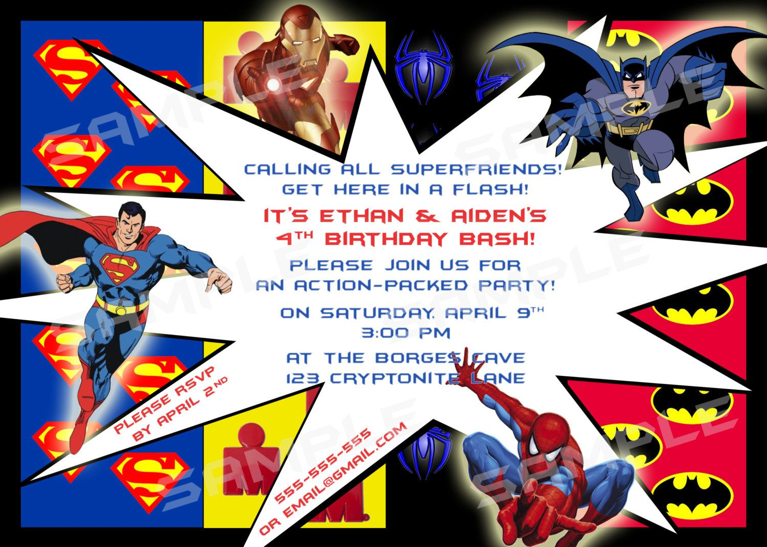 Superhero Mania Birthday DIY PRINTABLE Party INVITATION X Or - Birthday invitation template superhero