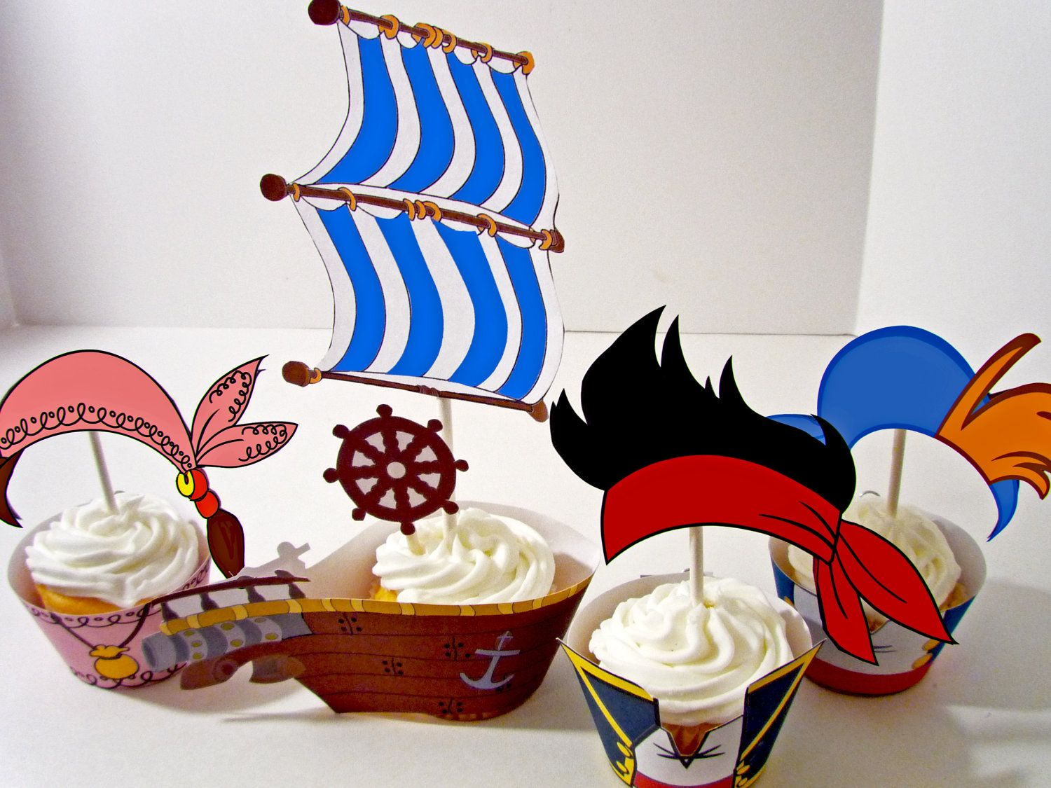 Decoraci n jake y los piratas de nunca jam s pictures to pin on - Instant Download Printable Party Diy Jake And The Neverland Pirates Inspired Cupcake Toppers And Wrappers