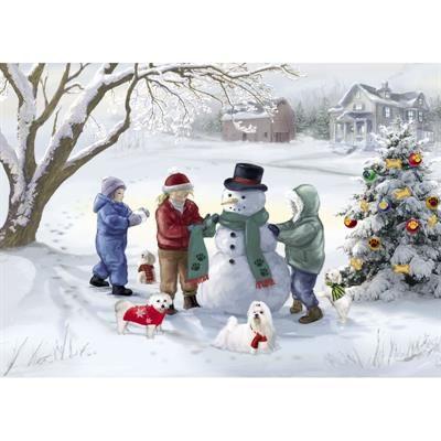 Maltese Christmas Cards - Napping Santa