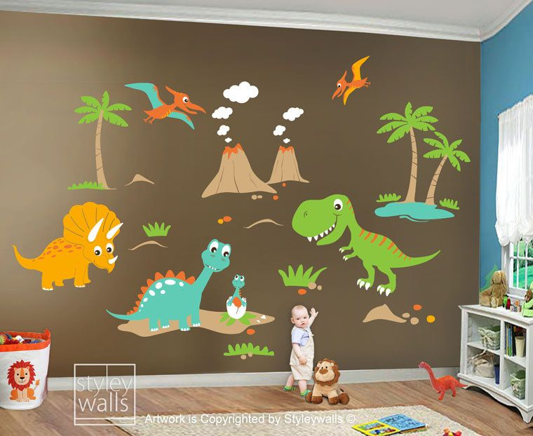 Children Wall Decals Dino Land Dinosaurs Wall Decal Wall Sticker HUGE Set    Nursery Kids Playroom Vinyl ...