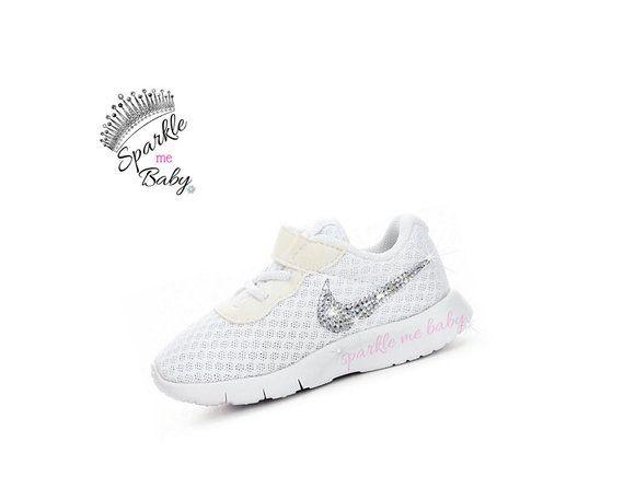 sale retailer 3abb9 430c2 Swarovski Nike Tanjun Infant and Toddler - White Blinged Nikes - Blinged  Out Crystal Nikes - Customi