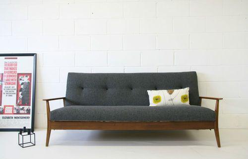 Vintage Retro 60s Wooden Framed Sofa Bed Ebay Sofa Bed Sofa Room
