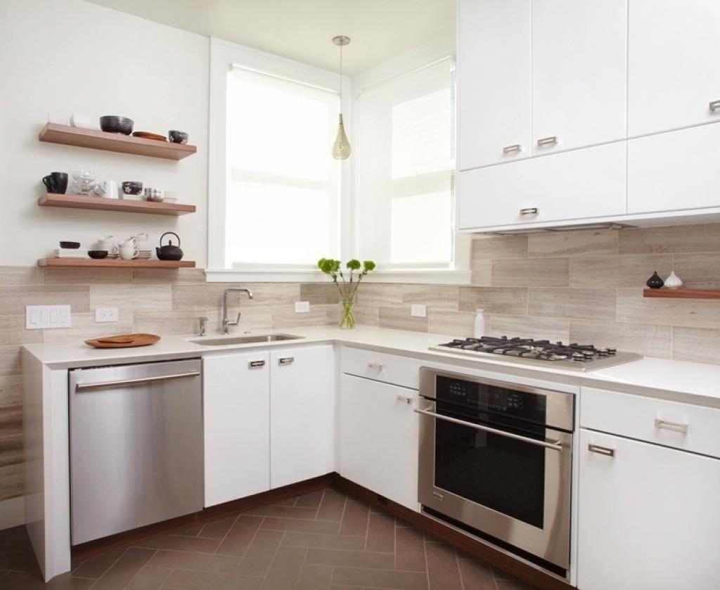 White Modern Kitchen With Marble Large Tile Backsplash Kitchen