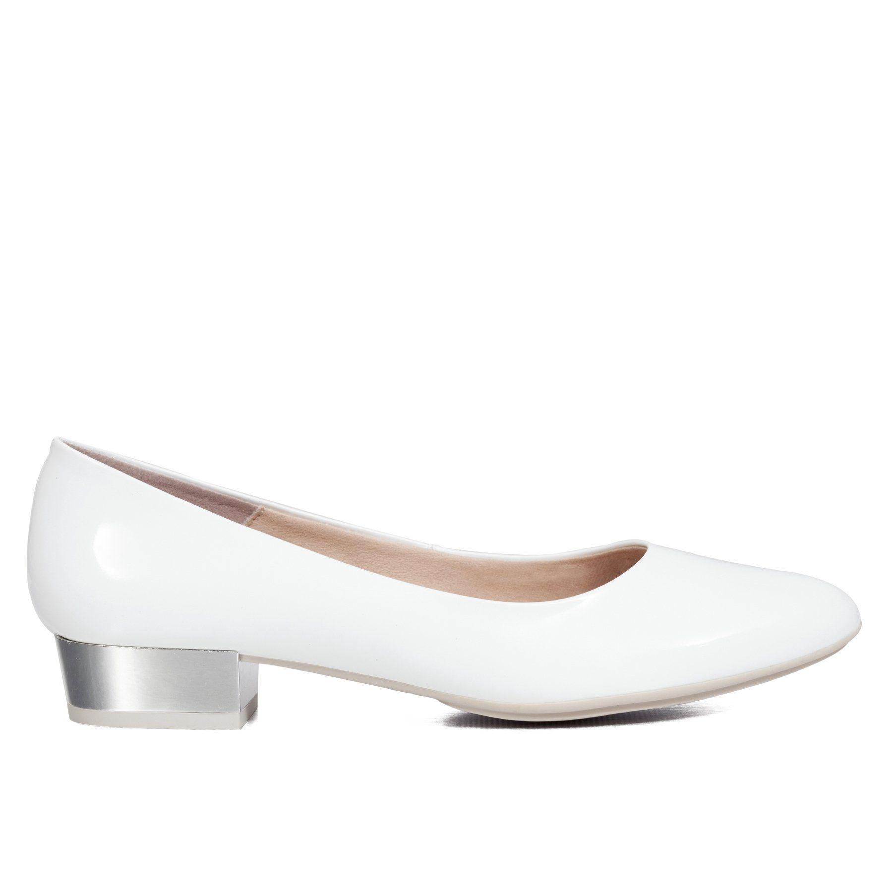 f6ed6aef Zapato tacón bajo charol mujer BLANCO – miMaO Spain Tienda Online – miMaO  ShopOnline