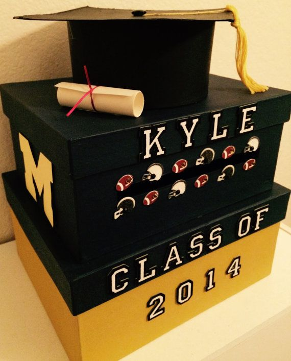 Graduation Card Box Two Tiered Square Custom Blue And By Bcboxes