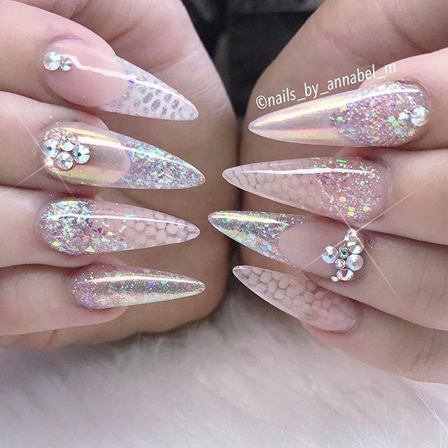 Crystal Nail Art Design Nails Stiletto Clear