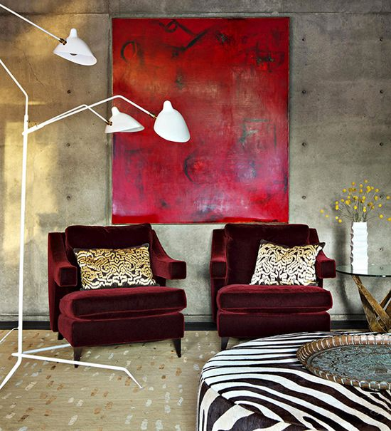 Red Painting In Concrete Living Room. #Art #Style #Decor