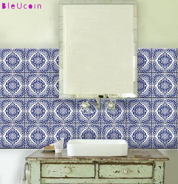 Küche   Bad marokkanische Fliesen Aufkleber-44 Stk von Bleucoin - fliesengestaltung bad