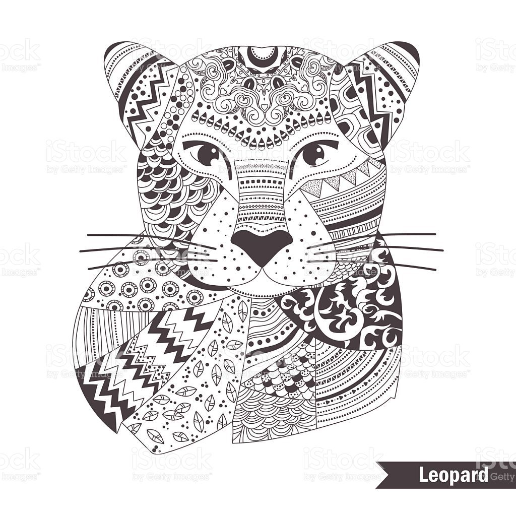 leopard coloring book for antistress coloring